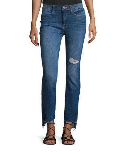 Le High Distressed Stagger-Hem Jeans, Charlotte