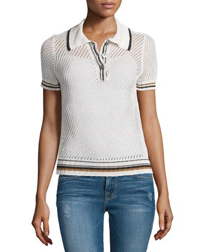 Short-Sleeve Mesh Polo Shirt, Chalk/Bronze