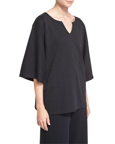 Pima Kimono-Sleeve Tunic, Black, Plus Size
