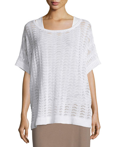 Short-Sleeve Scalloped Easy Sweater, White