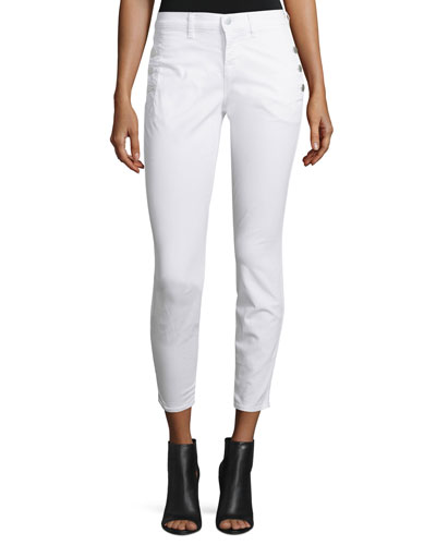 Xo Zion Mid-Rise Skinny Cropped Jeans, White