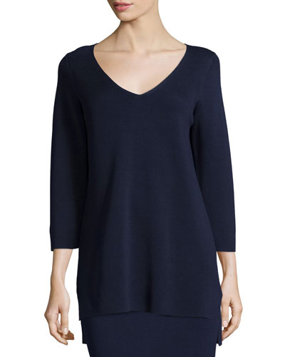 3/4-Sleeve V-Neck Interlock Tunic, Midnight