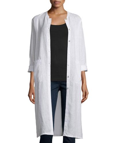 Long Organic Linen Jacket, Black, Petite