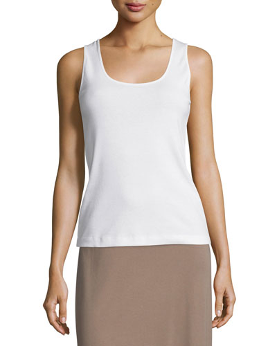 Soft Scoop-Neck Tank, White, Plus Size