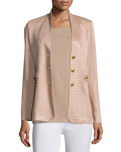 Textured Gold-Button Jacket, Sand, Petite