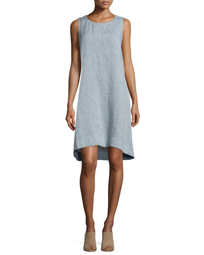 Sleeveless Chambray Linen Dress