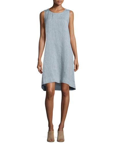 Sleeveless Chambray Linen Dress, Petite