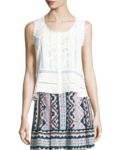 Sleeveless Lace-Inset Top, Ivory