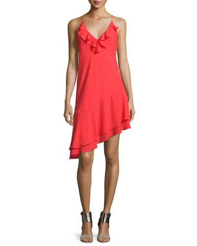 Anastasia Sleeveless Ruffle Dress, Candy Apple