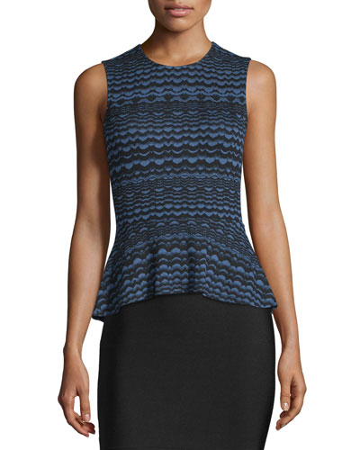 Maribella Sleeveless Peplum Top, Navy Combo