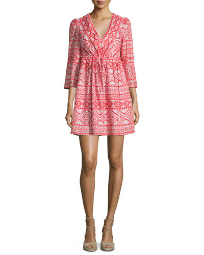 Jacky 3/4-Sleeve Tribal-Print Dress, Bright Poppy Combo