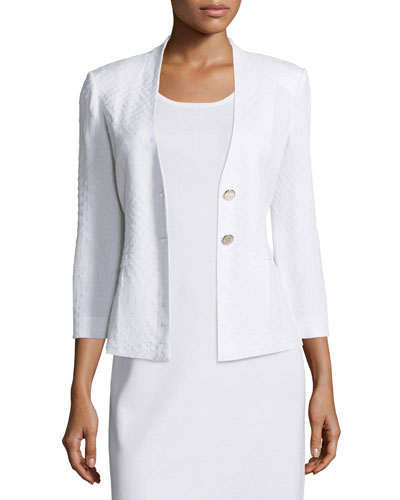 Textured 3/4-Sleeve Two-Button Jacket, White
