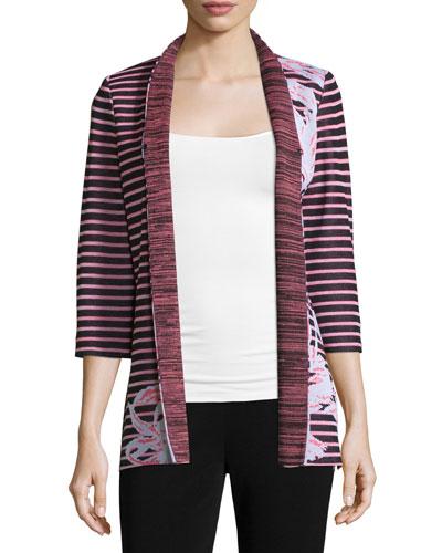 Floral & Striped 3/4-Sleeve Jacket, Plus Size