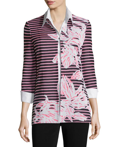 Floral & Striped 3/4-Sleeve Jacket, Plus Size
