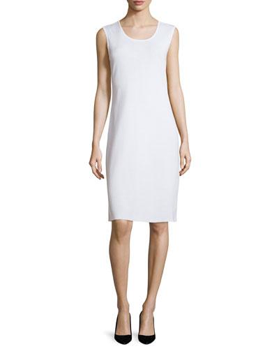Sleeveless Sheath Tank Dress, White, Plus Size