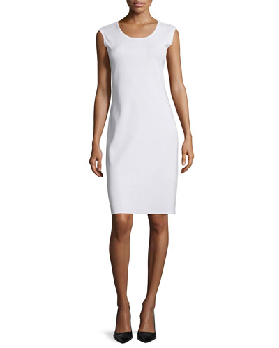 Sleeveless Sheath Tank Dress, White, Petite