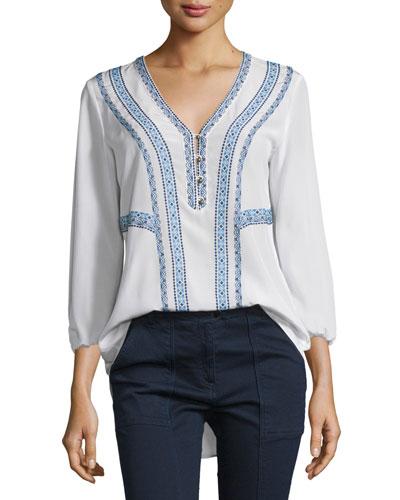 Loreto Embroidered Silk Blouse, Cream