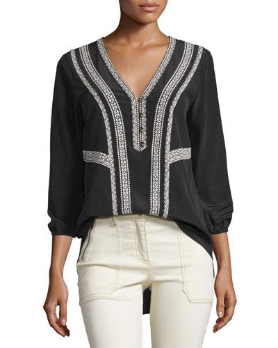 Loreto Embroidered Silk Blouse, Black