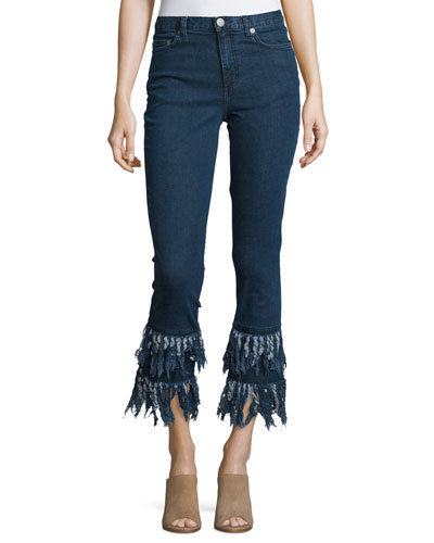 Frayed-Hem Cropped Flare-Leg Jeans, Mid Blue