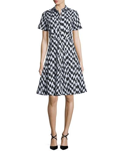 Short-Sleeve Soma-Print Shirtdress, Black