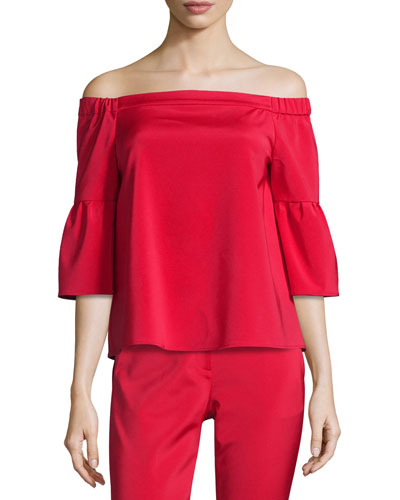 Stretch Faille Boxy Off-the-Shoulder Top, Cadmium Red