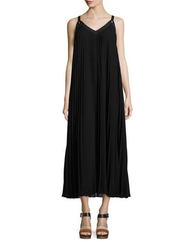 Sleeveless Plisse A-Line Dress, Black