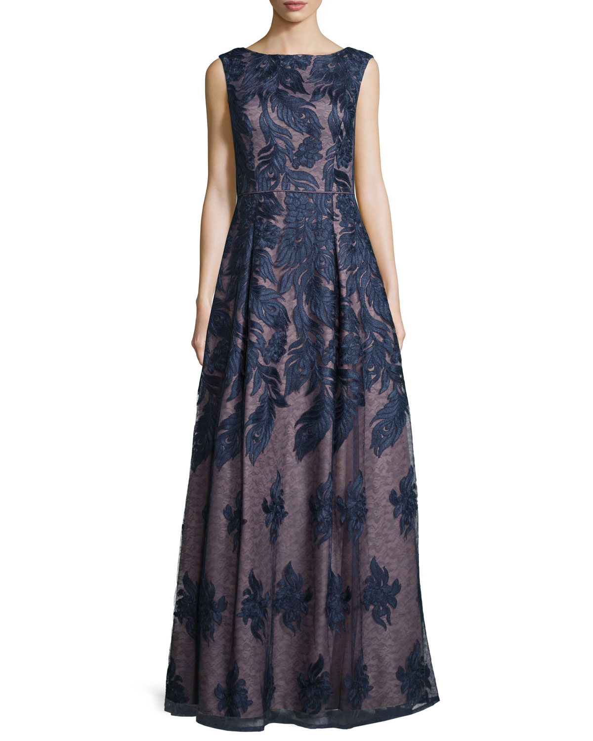 Sleeveless Embroidered Ball Gown, Twilight