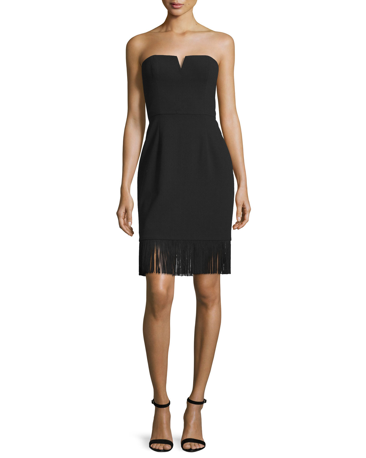 Strapless Sheath Dress W/Fringe Hem, Black