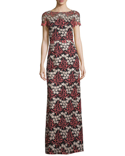 Short-Sleeve Floral Embroidered Gown, Coral/Gold/Black