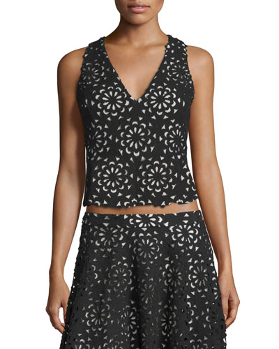 Lyla Floral V-Neck Top, Black