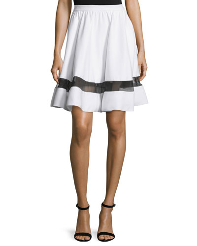 Lotus Silk-Trim A-Line Skirt, White/Black