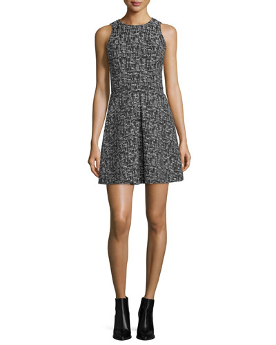 Janette Sleeveless Tweed A-Line Dress, Black/Cream