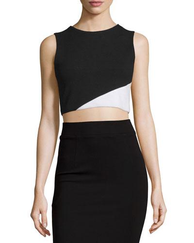 Cathleen Ponte Colorblock Crop Top, Black/White