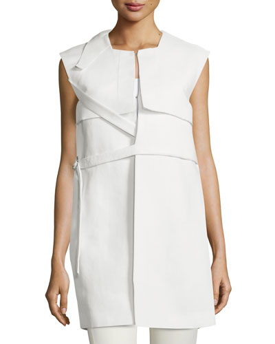 Sleeveless Belted Column Jacket, Optic White