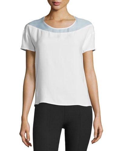 Short-Sleeve Open-Back Top, Optic White