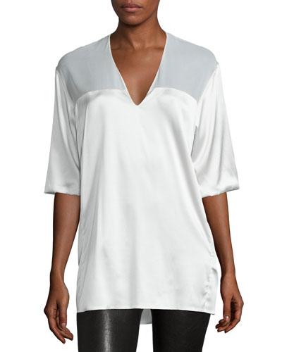 Half-Sleeve V-Neck Top, White