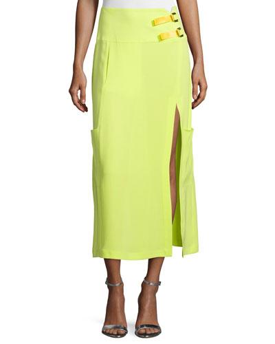 Mid-Rise Midi Skirt W/Slit, Neon