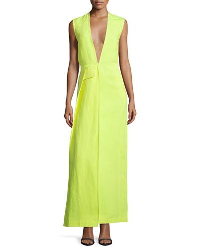 Sleeveless Plunging-Neck Maxi Dress, Neon
