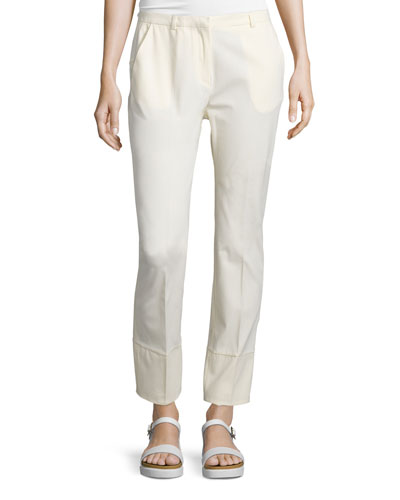 Straight-Leg Ankle Trousers, Cream