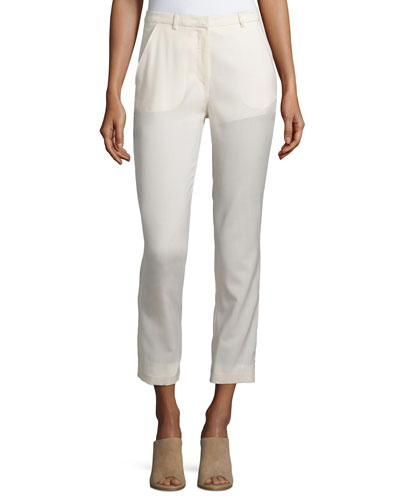 Slim-Leg Cropped Trousers, Cream