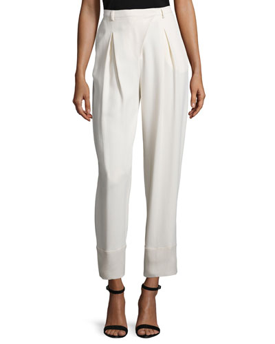 Pleated-Front Cropped Pants, Cream