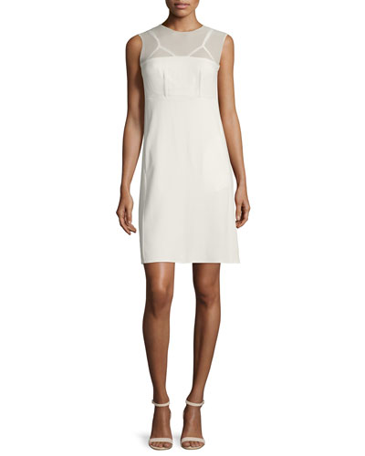 Sleeveless Sheer-Yoke Dress, Cream