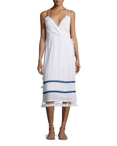 Tamani Sleeveless Midi Dress, White/Admiral Trim