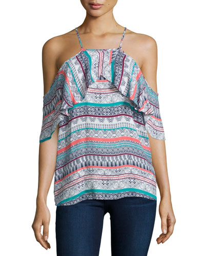 Oceana Cold-Shoulder Ruffle Top, Desert