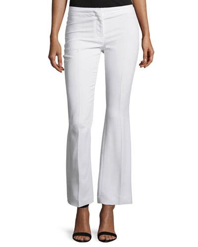 Mid-Rise Flare-Leg Pants, White