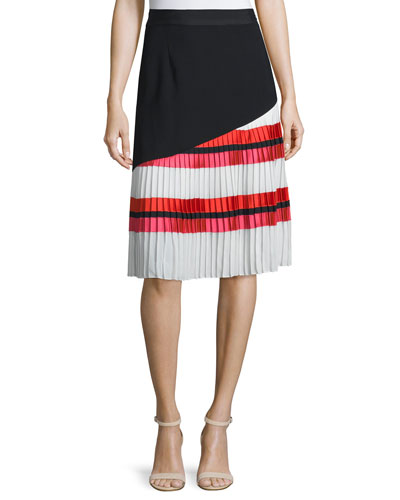Pleated Striped A-line Combo Skirt