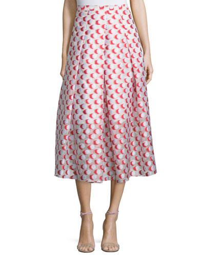 Pleated Polka-Dot Midi Skirt, Tomato