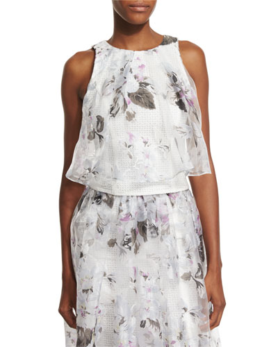 Sleeveless Floral-Print Overlay Crop Top