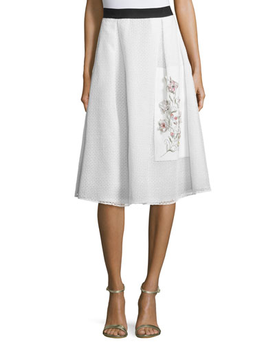 Eyelet Embroidered Midi Skirt, Ivory