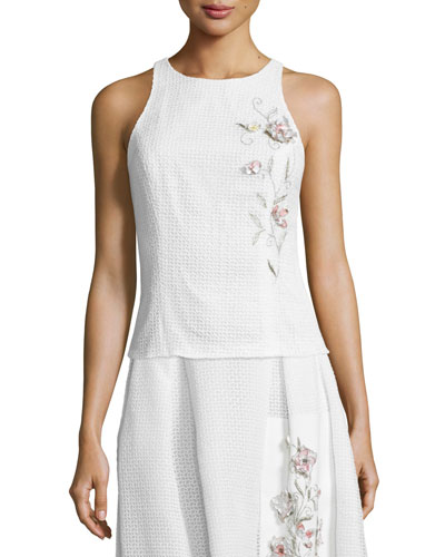 Sleeveless Embroidered Eyelet Crop Top
